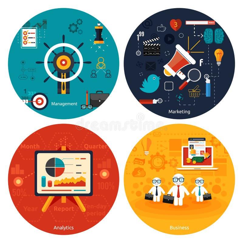 Ikonen für das Vermarkten, Management, Analytik vektor abbildung