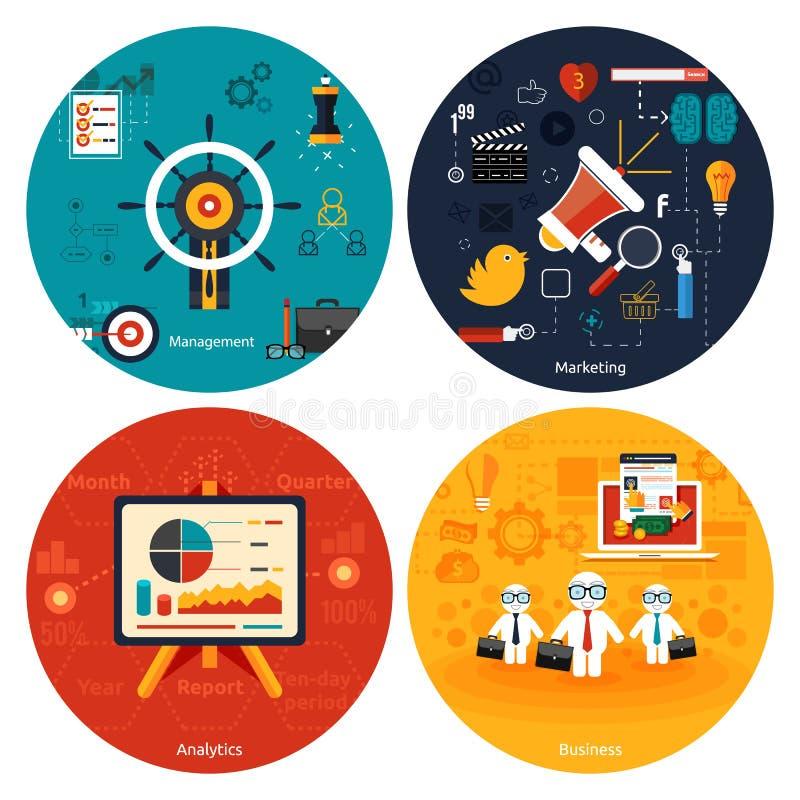 Ikonen für das Vermarkten, Management, Analytik lizenzfreie abbildung