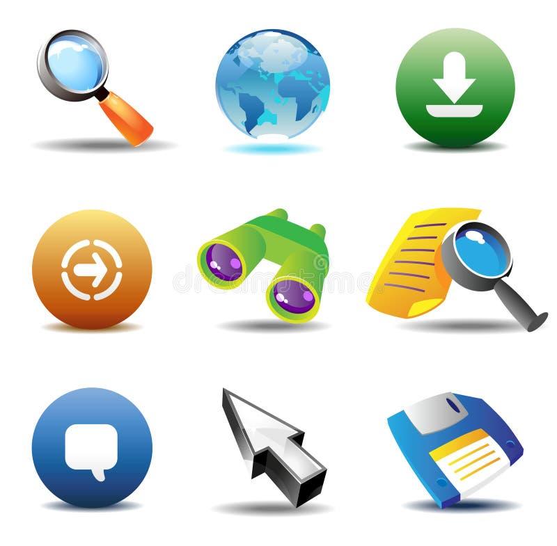 Ikonen für das Web-Durchstöbern lizenzfreie abbildung