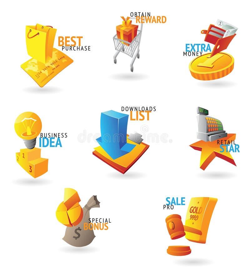 Ikonen für Handel und Einzelverkauf stock abbildung