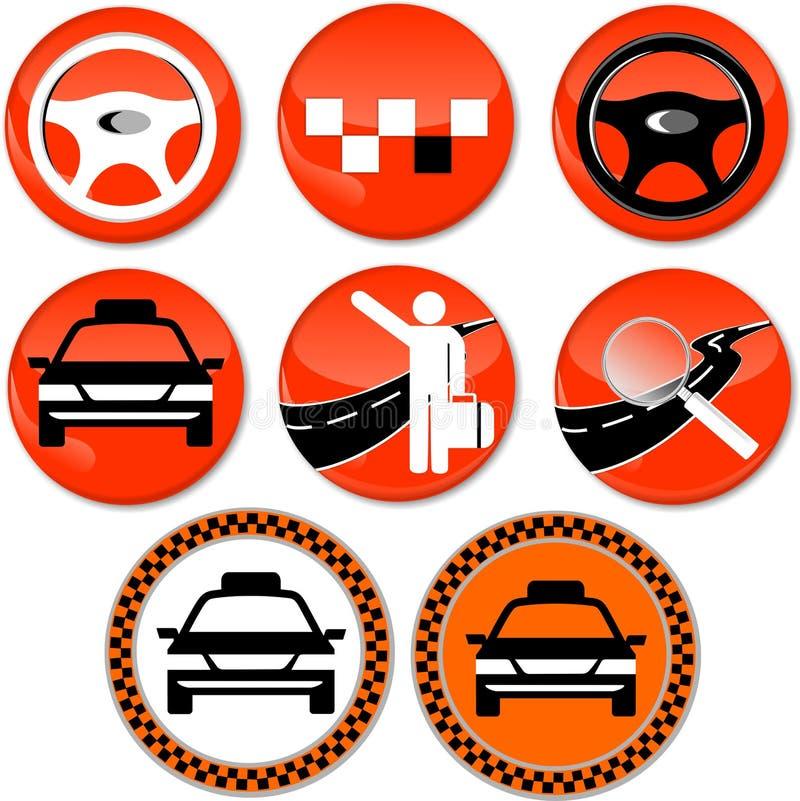 8 Ikonen für Taxi lizenzfreies stockbild