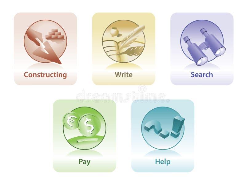 Ikonen für Web und Druck lizenzfreie stockbilder