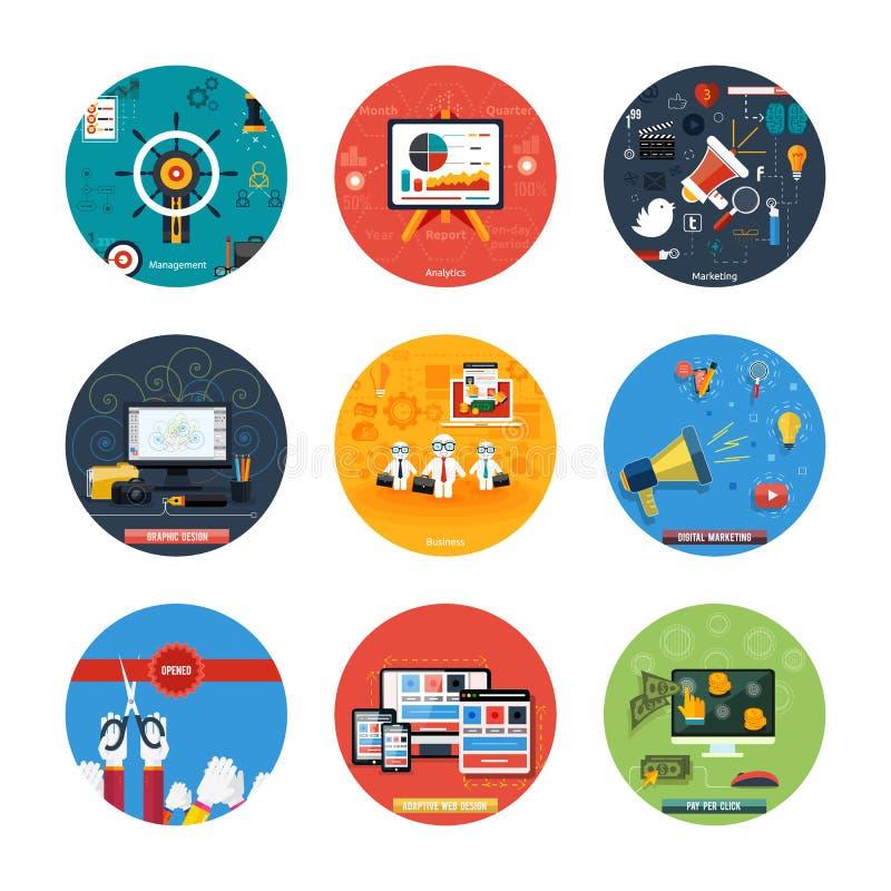 Ikonen für Webdesign, seo, Social Media stock abbildung