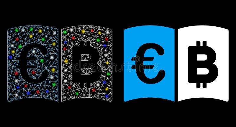 Ikonen Flare Mesh Network Euro och Bitcoin Catalog med Flare Spots vektor illustrationer