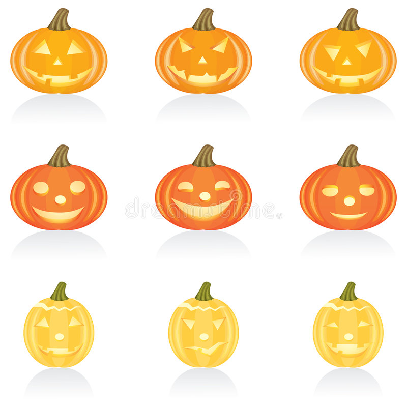 Ikonen-gesetzter Halloween-Kürbis vektor abbildung