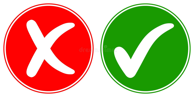 Ikonen-Häkchenzecke und Querlöschen, Vektorkonzeptwörter HEISST und NEIN, genehmigtes und zurückgewiesenes Zeichen gut stock abbildung