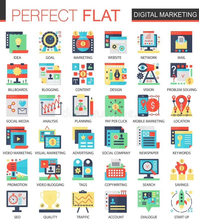 Ikonen-Konzeptsymbole des Digital-Marketing-Vektors komplexe flache für infographic Design des Netzes vektor abbildung