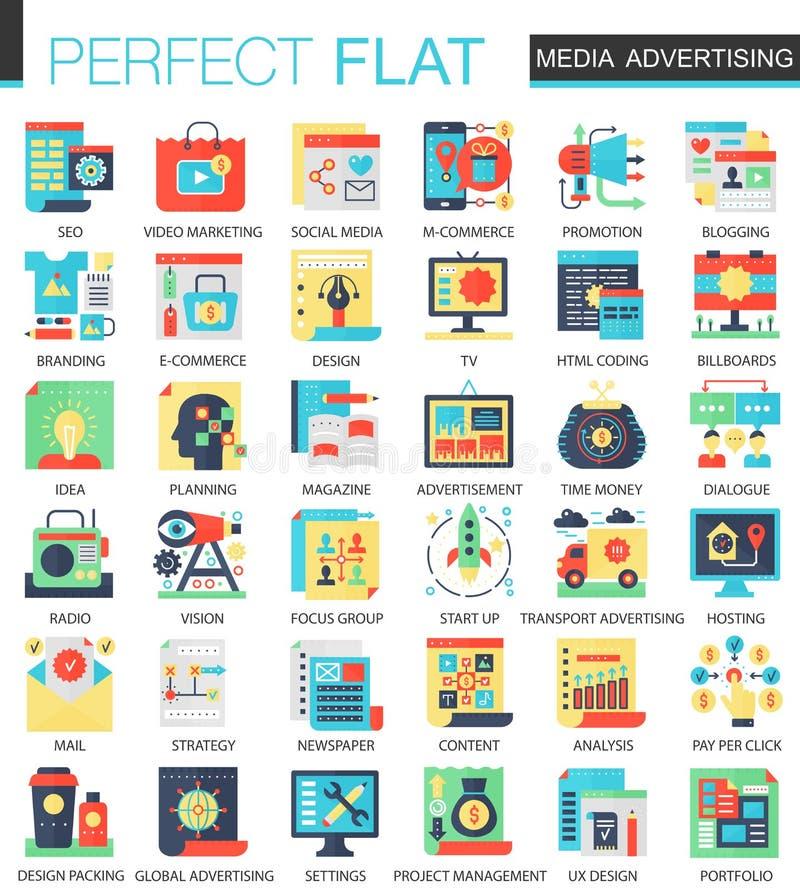 Ikonen-Konzeptsymbole des Medienwerbungs-Vektors komplexe flache für infographic Design des Netzes lizenzfreie abbildung