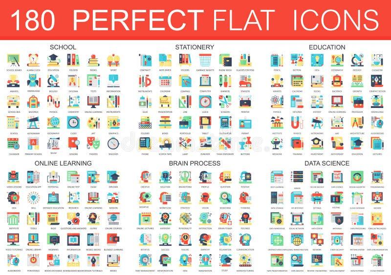 180 Ikonen-Konzeptsymbole des Vektors komplexe flache der Schule, Briefpapier, Bildung, online lernend, Gehirnprozeß, Daten vektor abbildung