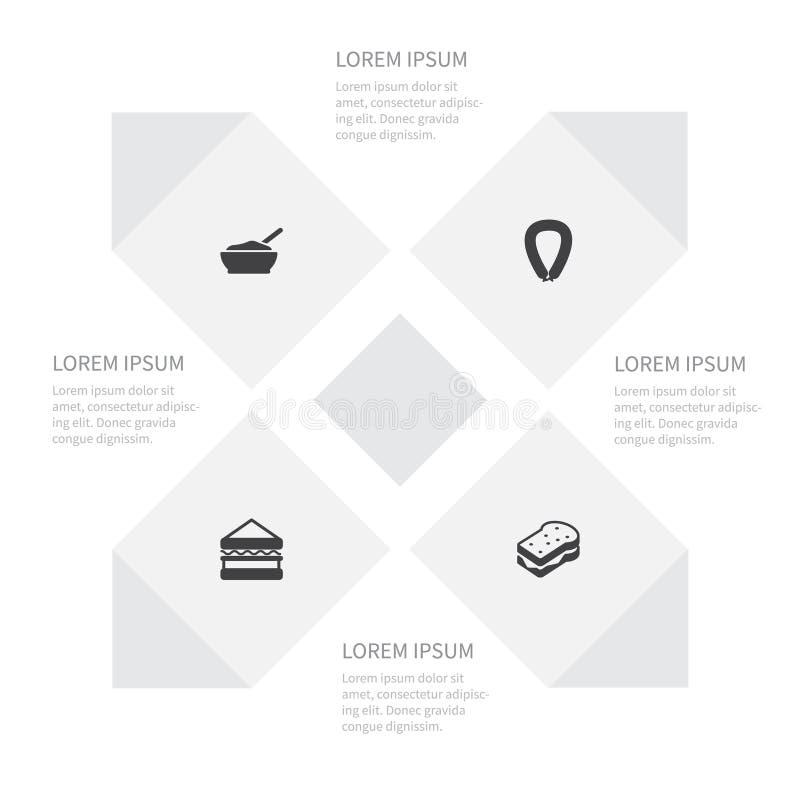 Ikonen-Mahlzeit-Satz Brei, Bratwurst, Sandwich-Vektor-Gegenstände Schließt auch Grill, Getreide, Sandwich-Elemente mit ein lizenzfreie abbildung