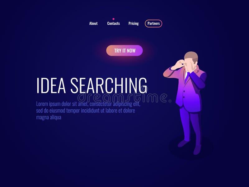 Ikonen-Managerkonzept Personal Stunde isometrisches, suchende Idee, Mannblicke durch dunkles Neon der Ferngläser vektor abbildung