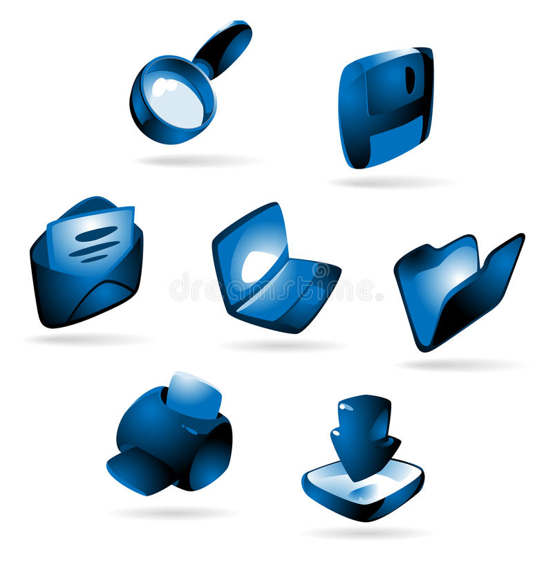 Ikonen mit blauem Glühen stock abbildung