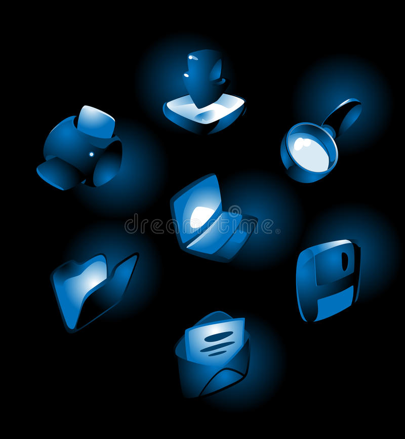 Ikonen mit blauem Glühen lizenzfreie abbildung