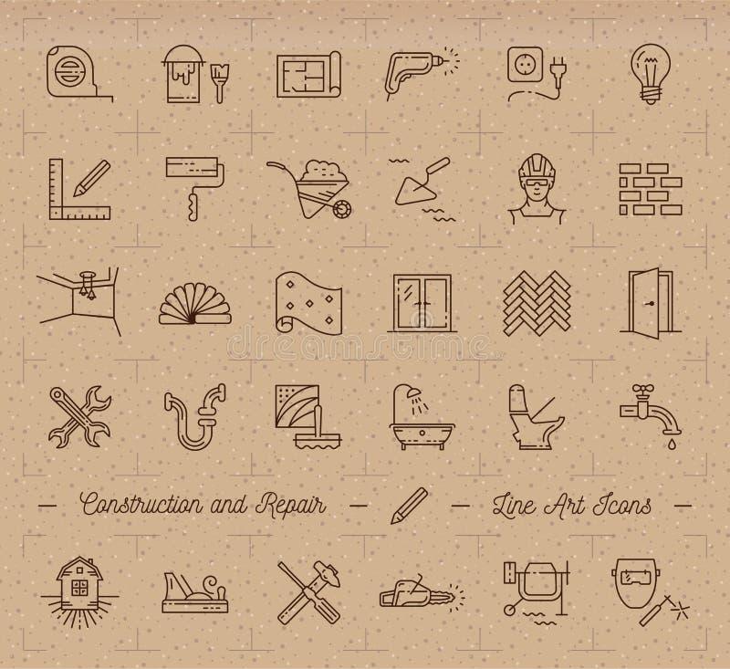 Ikonen reparieren, Haupterneuerung, Gebäude, Bausymbole Heimwerken, Klempnerarbeit, Reparaturwerkzeuge lizenzfreie abbildung