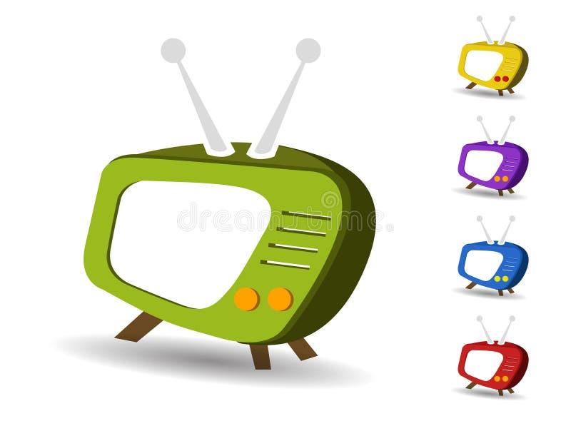 Ikonen stellten Fernsehvektor ein vektor abbildung