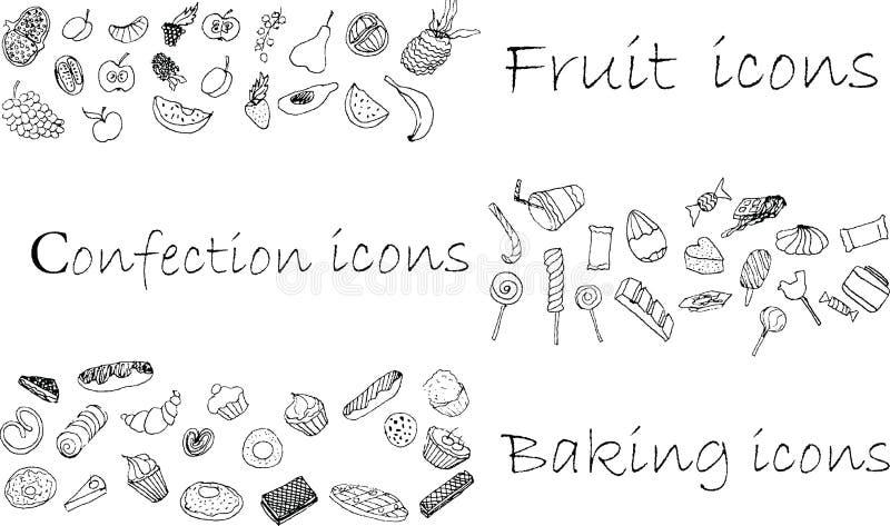 Ikonen stellten, Konfektionsartikel, Backen und Frucht ein vektor abbildung