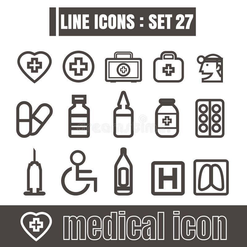 Ikonen stellten medizinische Arbeitslinie Schwarzes moderne Artgestaltungselemente ein stock abbildung