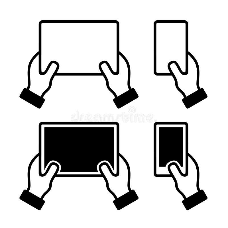Ikonen stellten von den Händen ein, die intelligentes Telefon und Tablette halten vektor abbildung