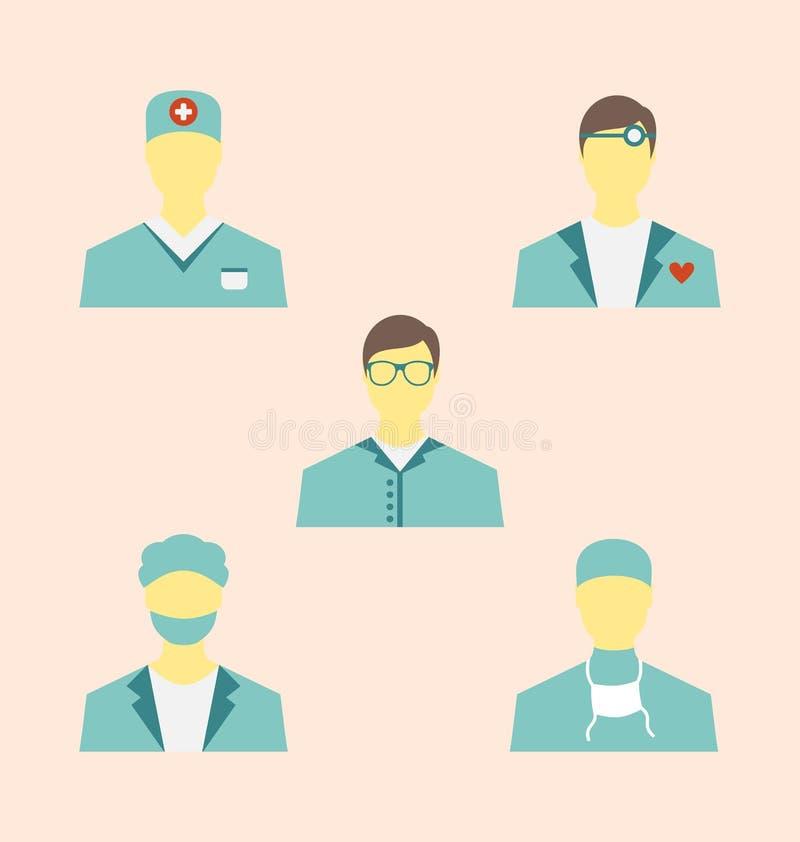 Ikonen stellten von den medizinischen Angestellten in der modernen flachen Designart ein lizenzfreie abbildung