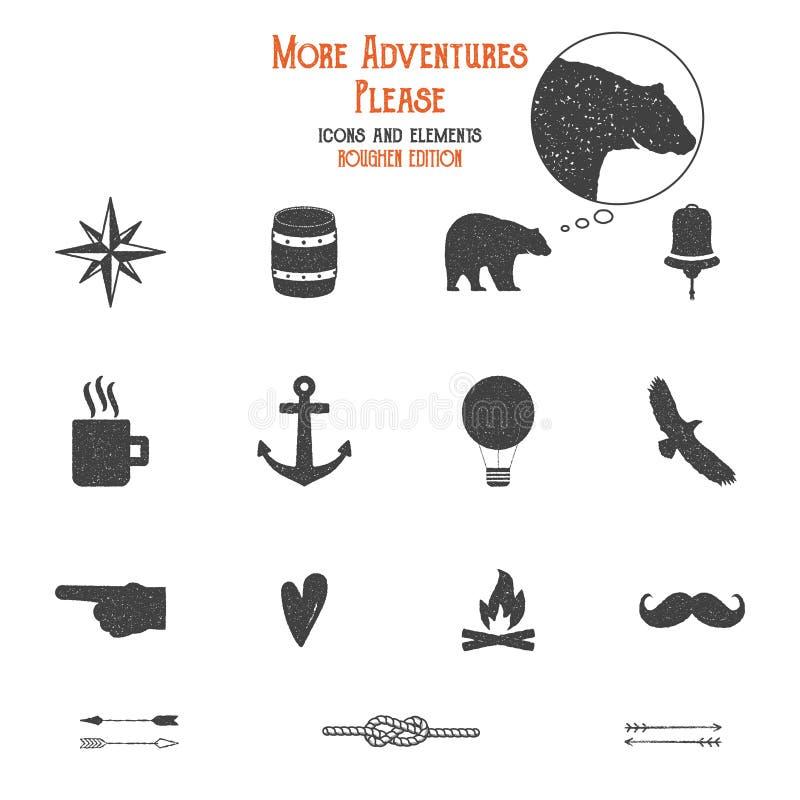 Ikonen und Elementsatz im Freien für die wandernde Schaffung, kampierendes Logo andere Designe Feste flache Vektoren Reise lizenzfreie abbildung