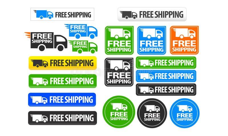 Ikonen- und Knopfsatz des kostenlosen Versands lizenzfreie abbildung