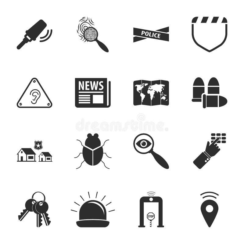 Ikonen-Universalsatz der Sicherheit 16 für Netz und Mobile stock abbildung
