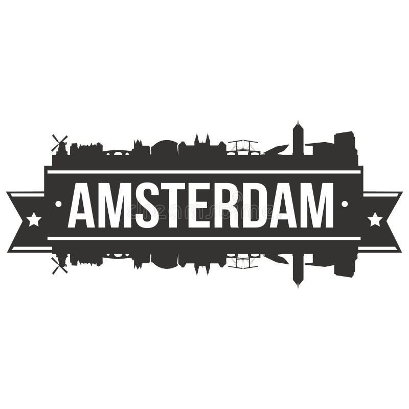 Ikonen-Vektor-Art Design Skyline Flat City-Schattenbild-Editable Schablone Amsterdams niederländisches Euro-Europa lizenzfreie abbildung