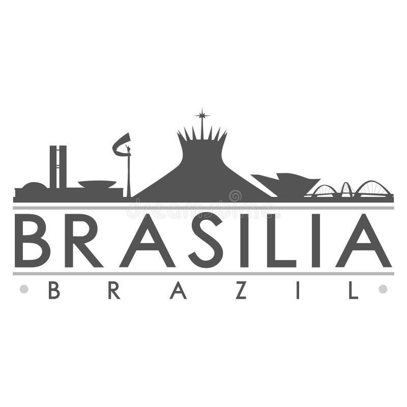 Ikonen-Vektor-Art Design Skyline Flat City-Schattenbild-Editable Schablone Brasilias Brasilien Südamerika vektor abbildung
