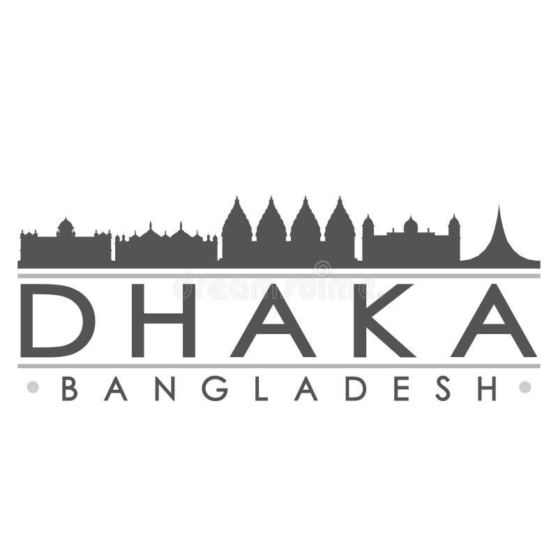 Ikonen-Vektor-Art Design Skyline Flat City-Schattenbild-Editable Schablone Dhakas Bangladesch Asien stock abbildung