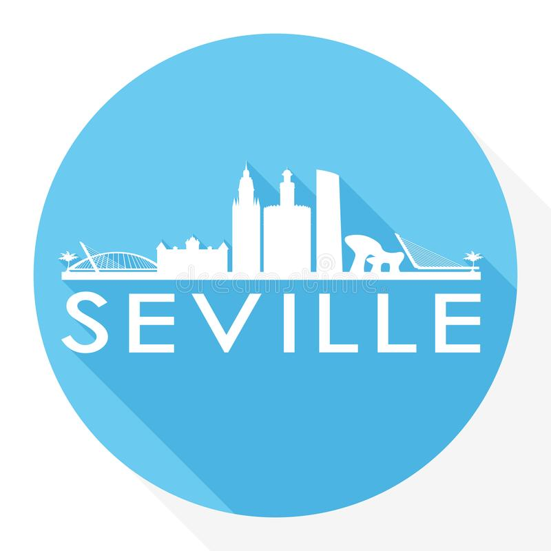 Ikonen-Vektor-Art Flat Shadow Design Skyline-Stadt-Schattenbild-Schablonen-Logo Sevillas Spanien Europa rundes vektor abbildung