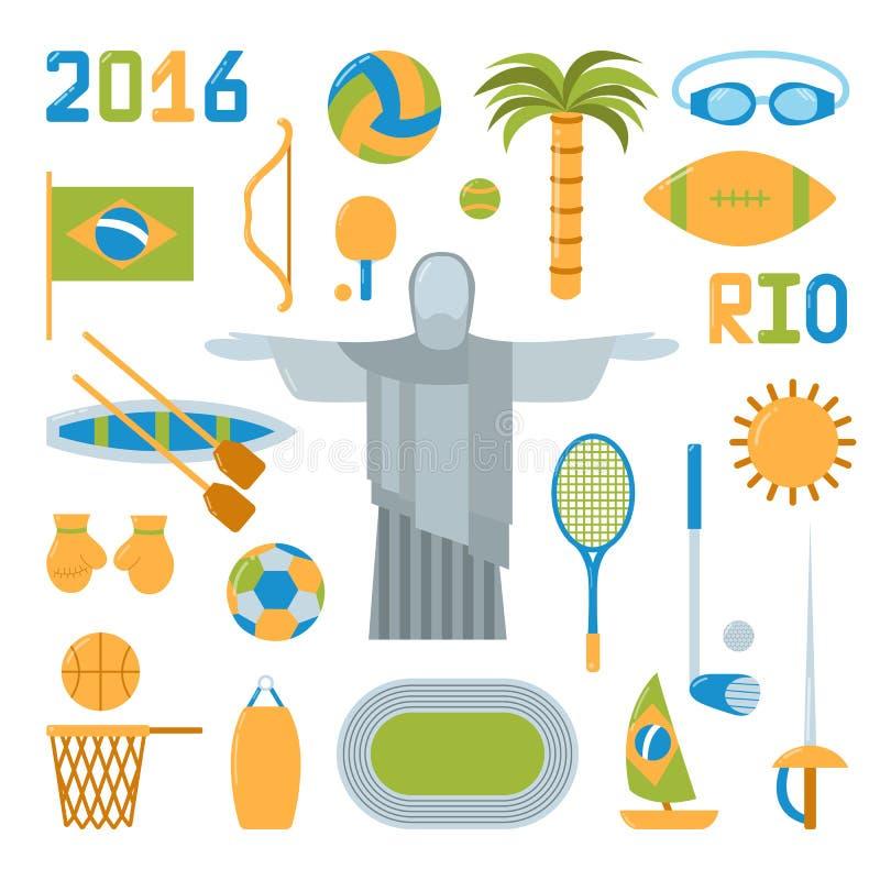 Ikonen-Vektorillustration der Rio-Sommerolympischen spiele vektor abbildung