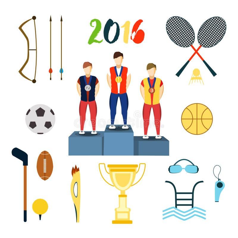 Ikonen-Vektorillustration der Rio-Sommerolympischen spiele Getrennt auf weißem Hintergrund vektor abbildung