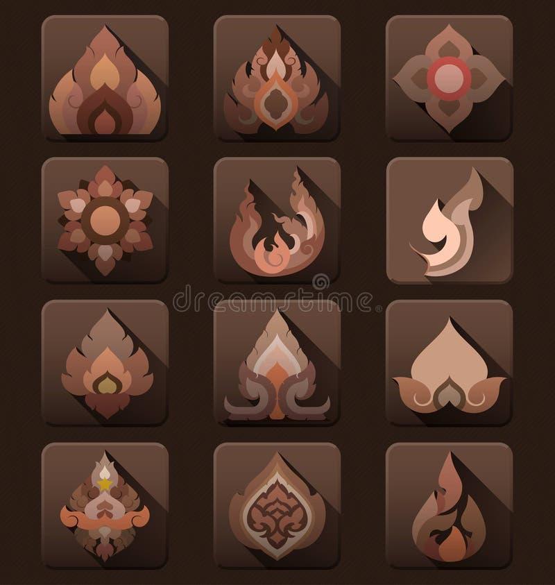 Ikonen-Vektorsammlung der thailändischen Kunst flache stock abbildung