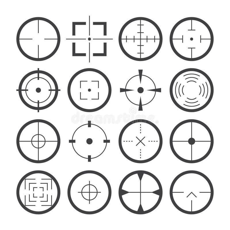 Ikonen-Vektorsatz der Fadenkreuzzielsymbole flacher vektor abbildung