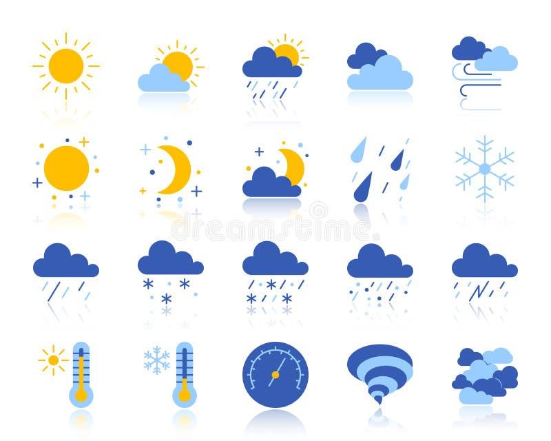 Ikonen-Vektorsatz des Wetters einfacher flacher Farb lizenzfreie abbildung