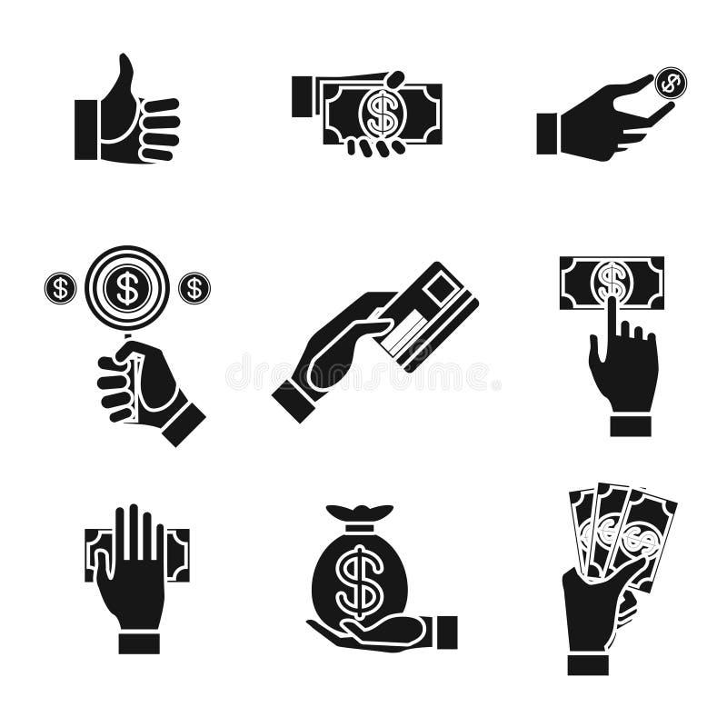 Ikonen von den Händen, die Geld halten stock abbildung