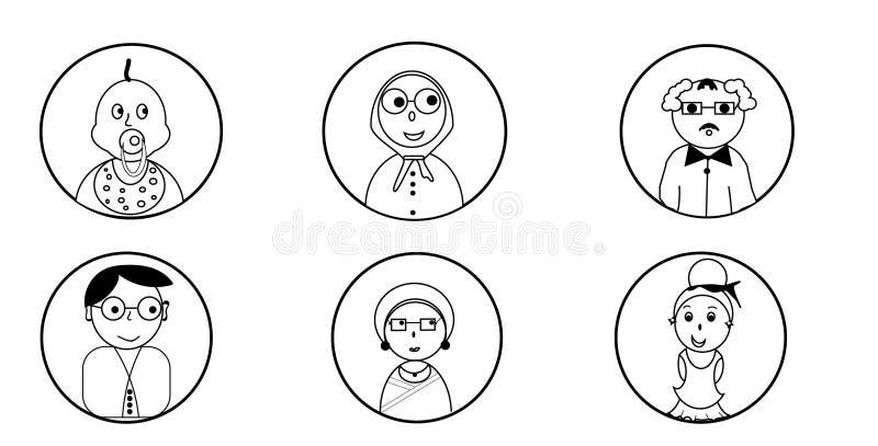 Ikonen von Leuten von verschiedenen Altersklassen stockfotos