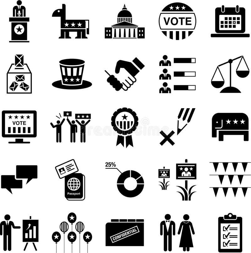 Ikonen von Politiken und von amerikanischen Wahlen stock abbildung