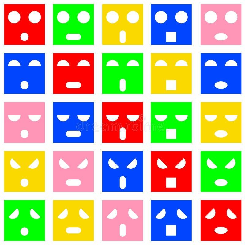 Ikonen von smileygefühlgesichtern lizenzfreie abbildung