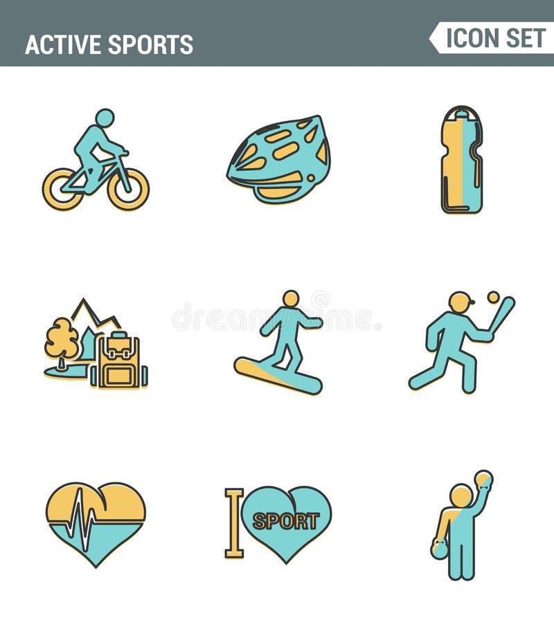 Ikonen zeichnen gesetzte erstklassige Qualität der aktiven Sportliebes-Sportlerikone Design-Artsymbol der modernen Piktogrammsamm lizenzfreie abbildung