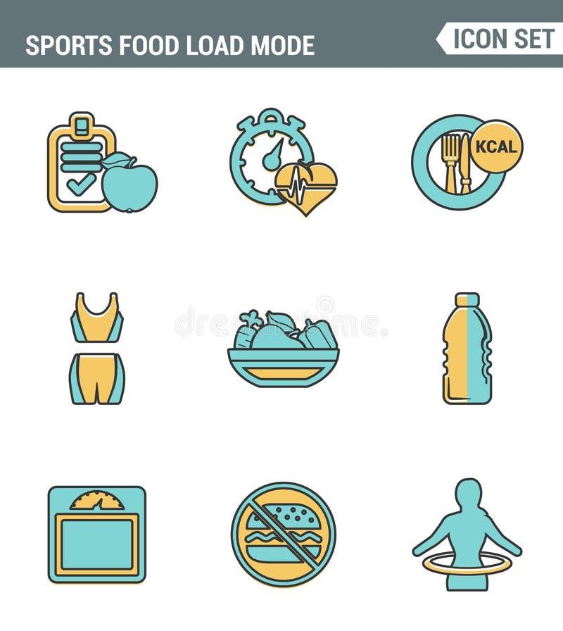 Ikonen zeichnen gesetzte erstklassige Qualität der Eignungsikone Gesunde Diät der Sportlebensmittel-Lademodus-Brandkalorien Moder vektor abbildung