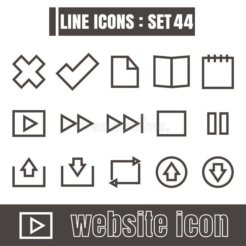 Ikonen zeichnen Symbolvektorschwarzes modernes Design der Website auf weißem Ba lizenzfreie abbildung