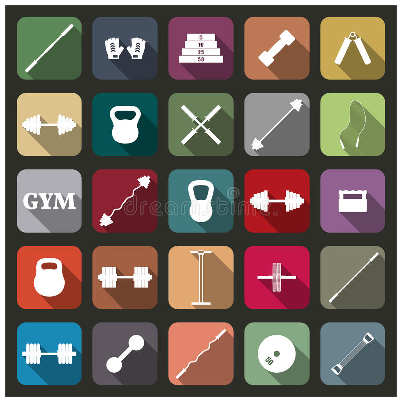 Ikonenausrüstung für die Turnhalle, Vektorillustration stock abbildung