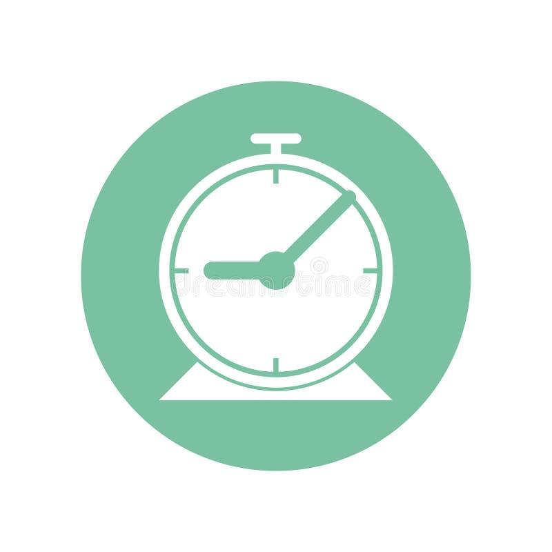 Ikonenentwurf der Uhr für die Einstellung einer Zeit umfassen Sitzung, aufstehen und reisen, mehr Vektorillustration in der flach lizenzfreie abbildung