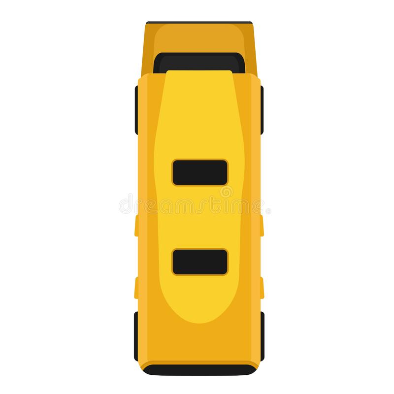 Ikonenfahrzeugtransportes des Vektors des Busses lokalisierte Draufsicht des gelben flachen KarikaturPersonenbeförderungsauto obe vektor abbildung