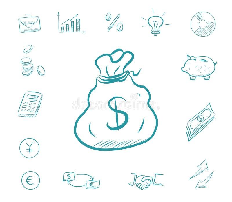 Ikonenfinanzsatz - Geldtasche Geschäftsikonen mit biggy Bank, Taschenrechner, Diagramme Austauschdollar und -Euros lizenzfreie abbildung
