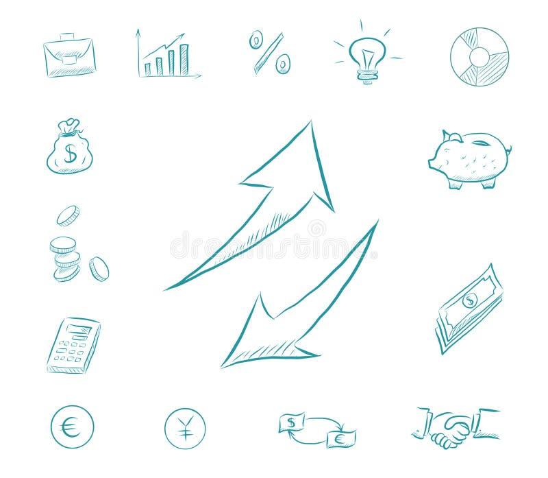 Ikonenfinanzsatz - Pfeile auf und ab Geschäftsikonen mit Geld, Taschenrechner, Diagramme Austauschdollar und -Euros lizenzfreie abbildung
