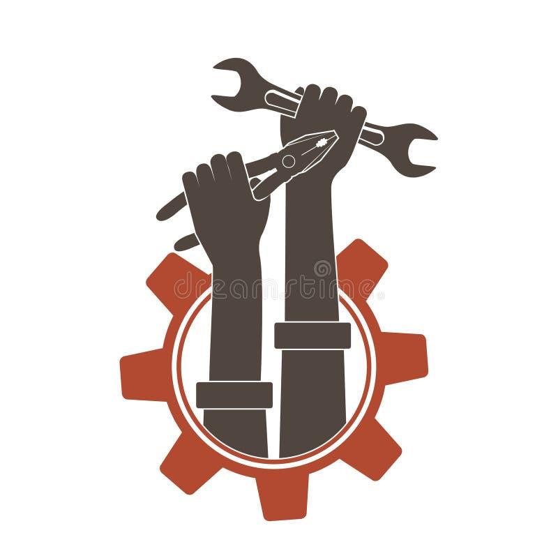 Ikonenhände, die industrielle Werkzeuge Schlüssel und Zangen halten stock abbildung