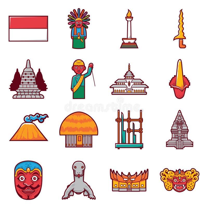 Ikonenindonesien-Reiseaufkleber-Marksteintourismus auf Lager und traditionelle Kultur vektor abbildung