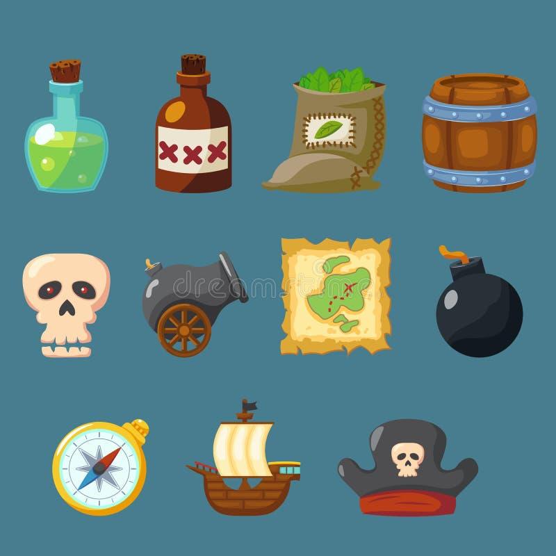 Ikoneninventar-Waffensatz des Piratenspiels netter lizenzfreie abbildung